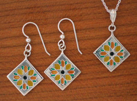 enameled sterling Sunflower Quilt Block Jewelry