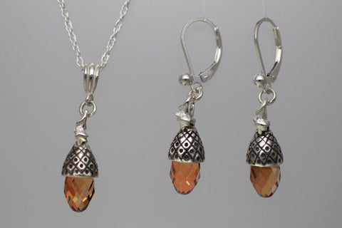Sterling Silver Acorn Jewelry with Swarovski crystal