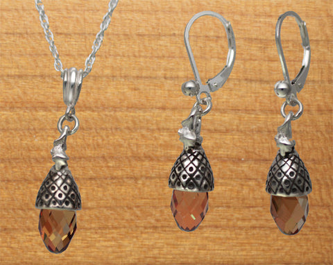 Sterling Silver Acorn Earrings with crystal