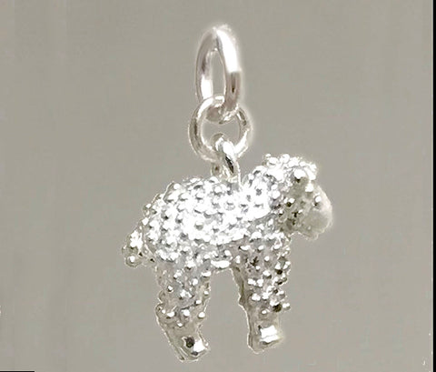 White Lamb Charm - solid sterling silver