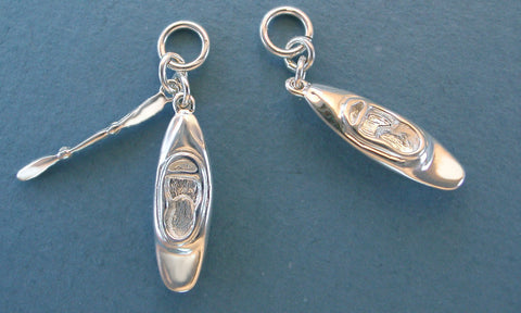Sterling Silver Whitewater Kayak Charms