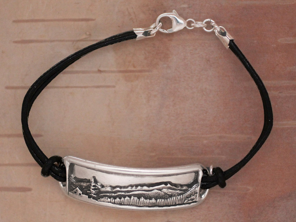 Adirondack Mountain Bracelet - black leather, sterling silver