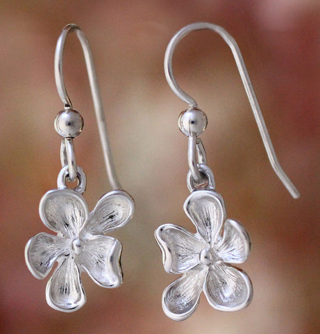 Wood Violet Earrings - sterling silver