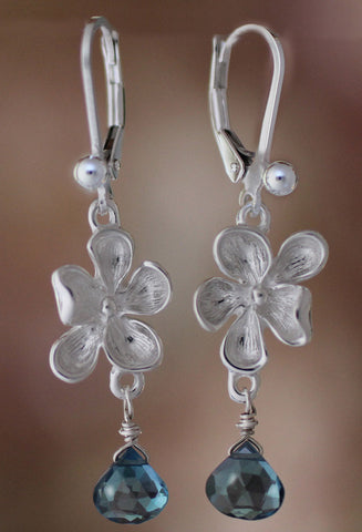 Silver Wood Violet with Topaz Earrings