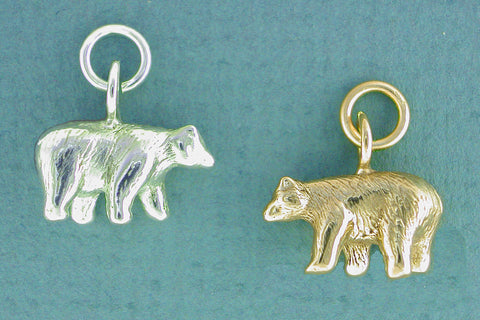 Sterling Silver Bear Charm 14k Gold