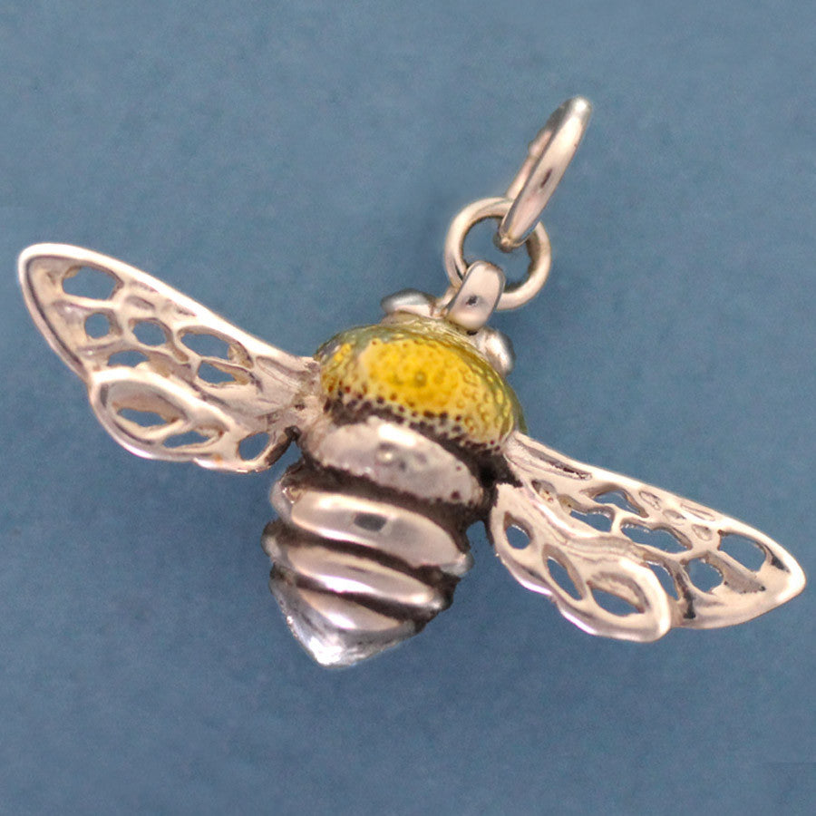 Sterling Silver Enameled Honey Bee Charm