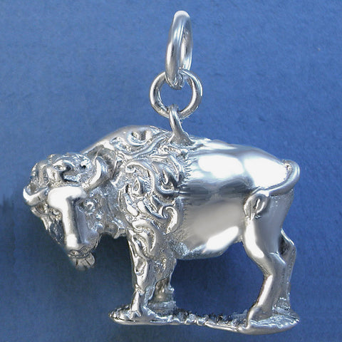 Western Bison / Buffalo Charm - sterling silver