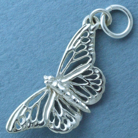 Butterfly Charm - sterling silver or 14k gold