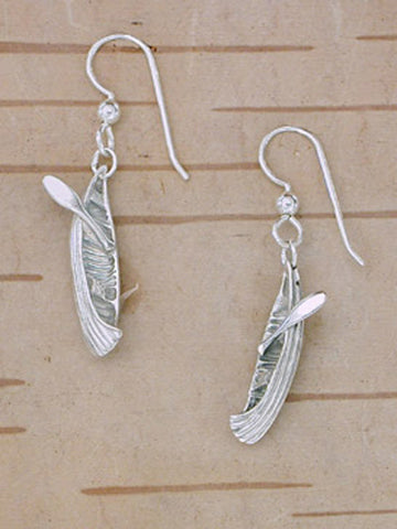 Sterling Silver Canoe Earrings