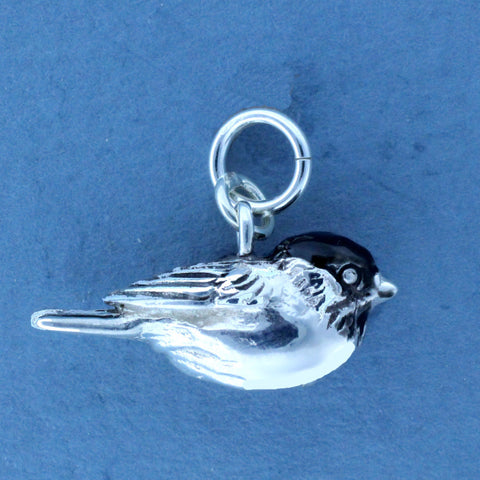 Chickadee Charm Sterling Silver Enameled