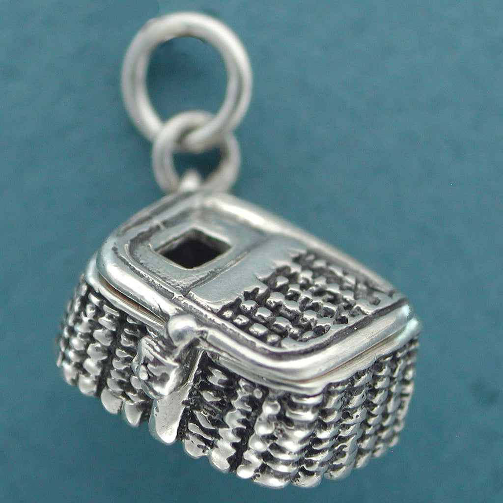 sterling silver fishing creel charm