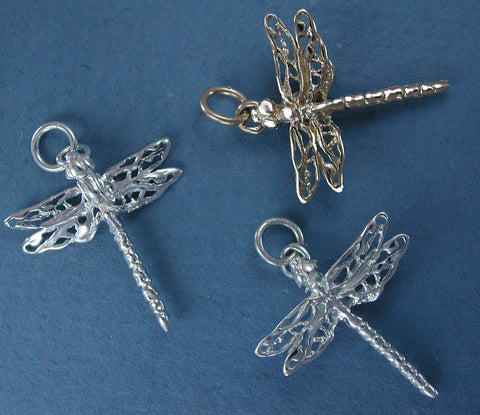 Dragonfly Charms - Sterling Silver & 14kt Gold