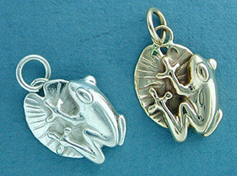 Frog Charm - Sterling Silver & 14kt Gold
