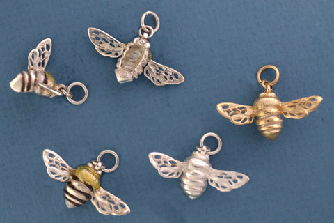 Bee Charms - Sterling Silver & 14kt Gold side view