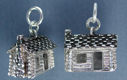Sterling Silver Log Cabin Charm - side view