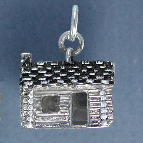 Sterling Silver Log Cabin Charm