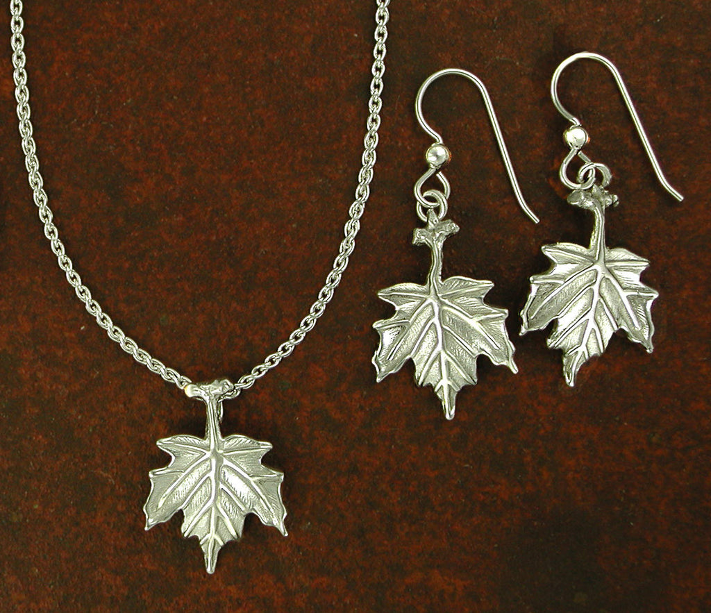 Sterling Silver Maple Leaf Charm Beautiful Nature Jewelry