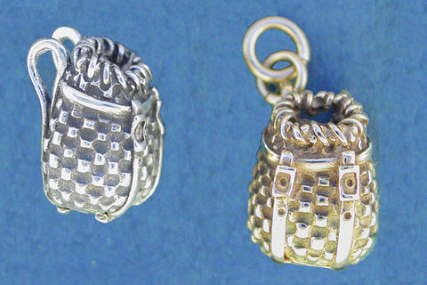 Sterling Silver Adirondack Pack basket Charm