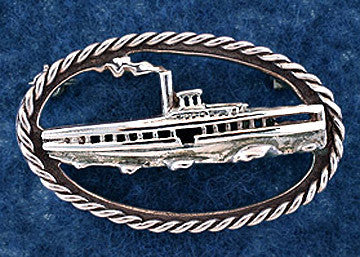 Sterling Silver Steamboat Pin Jewelry