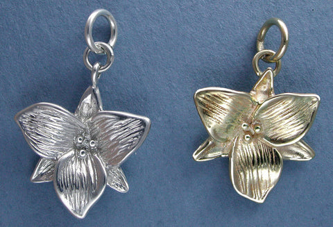 14k gold and sterling silver trillium charm