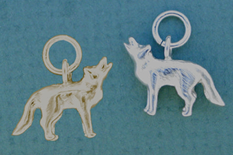 14kt Gold & Sterling Silver Wolf Jewelry