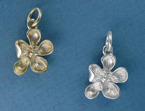 14k gold and sterling silver wood violet flower charm