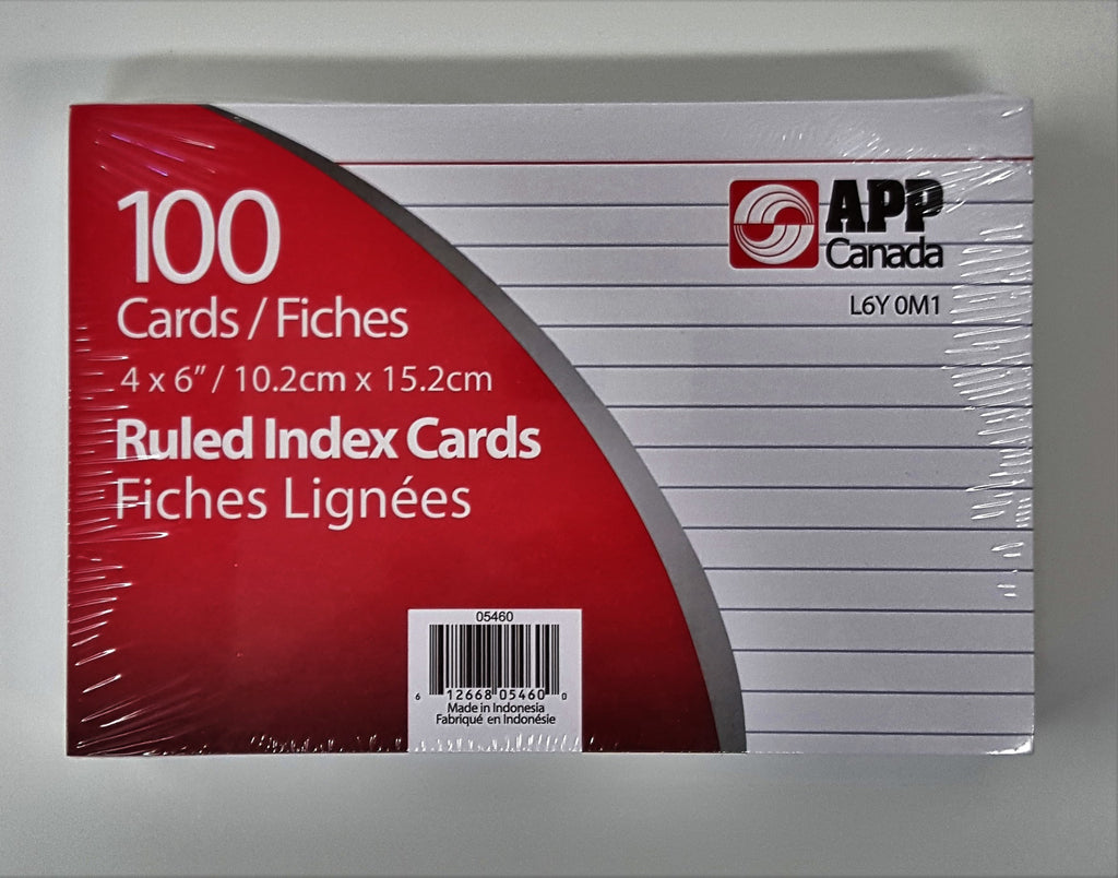 Index Cards, Lined 4 x 6 in (WHITE)