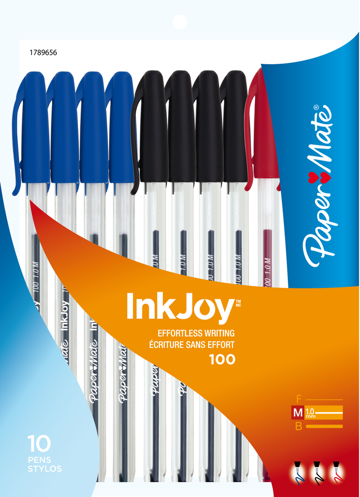 Stick Pens,  InkJoy Medium, Asst'd Blue/Black/Red