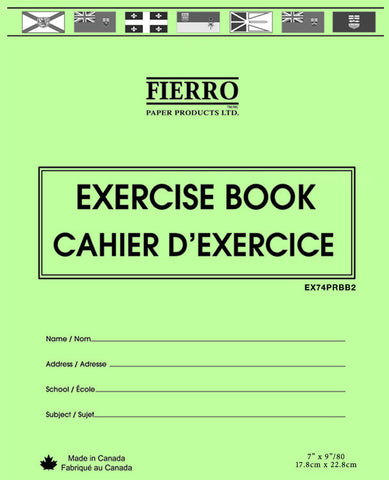 "Exercise Book, 1/2 Plain, 1/2 Ruled, 5/16"" RBBR-40 pgs 7x9"