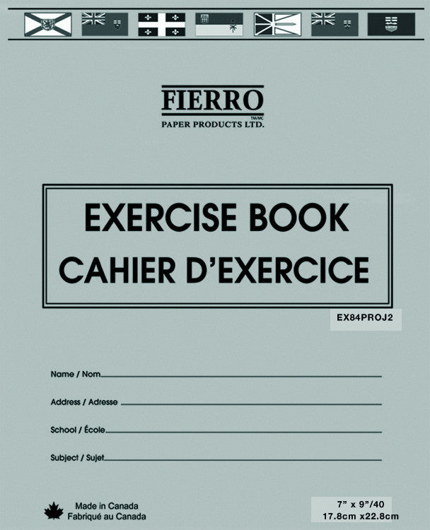 Exercise Book,  8.5 x 11.  Half Plain, Half Ruled, 40 pgs