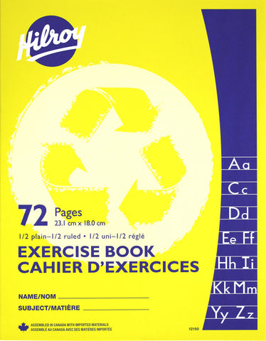 Exercise Book, 1/2 Plain, 1/2 Ruled - 72 pgs