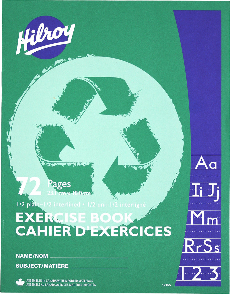 Exercise Book, 1/2 Plain 1/2 Interlined - 72 pgs (23.1 x 18cm)