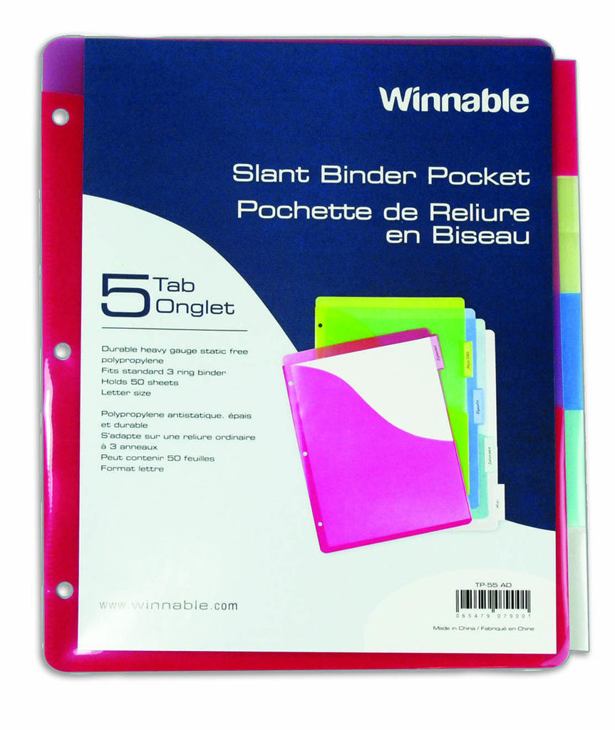 Index Dividers, Poly with Pockets