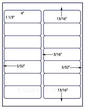 "Labels, BLANK, 4"" x 1-1/3"" x 14 labels"