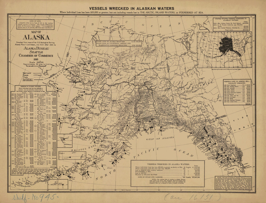 photograph regarding Printable Maps of Alaska named Alaska Wrecks Ancient Map - 1916