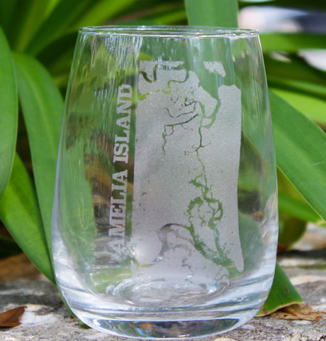 Amelia Island Map - Engraved Rocks, Stemless Wine & Pint Glasses