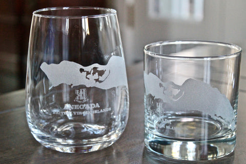 Anegada Island BVI Map - Engraved Rocks, Stemless Wine & Pint Glasses