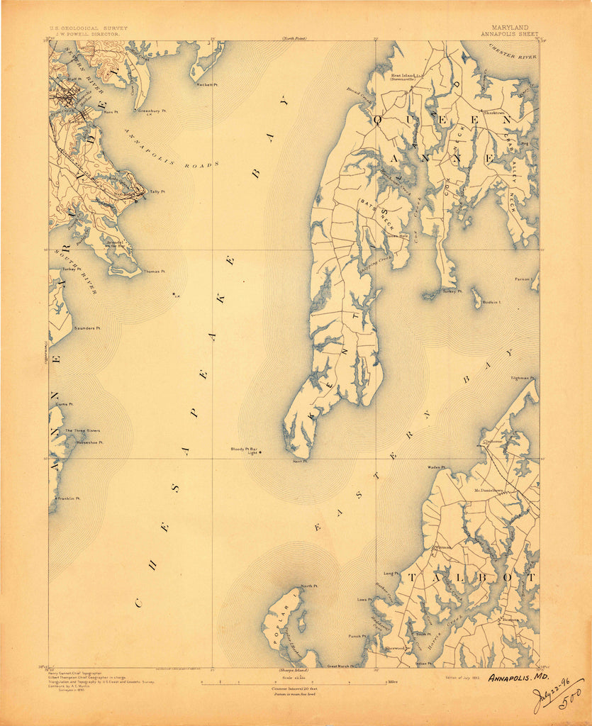 Annapolis Topographical Map - 1892
