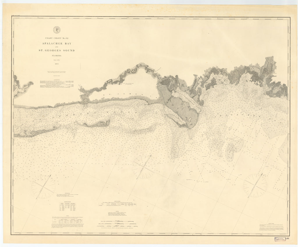Apalachee Bay & St. George Sound (Florida) Historical Map - 1883