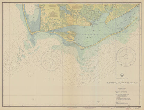 Apalachicola Bay to Cape San Blas Florida Historical Map 1943