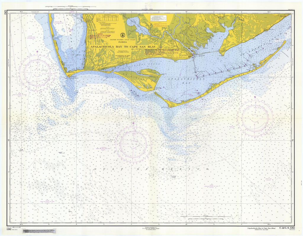 Apalachicola Bay to Cape San Blas Florida Historical Map 1958