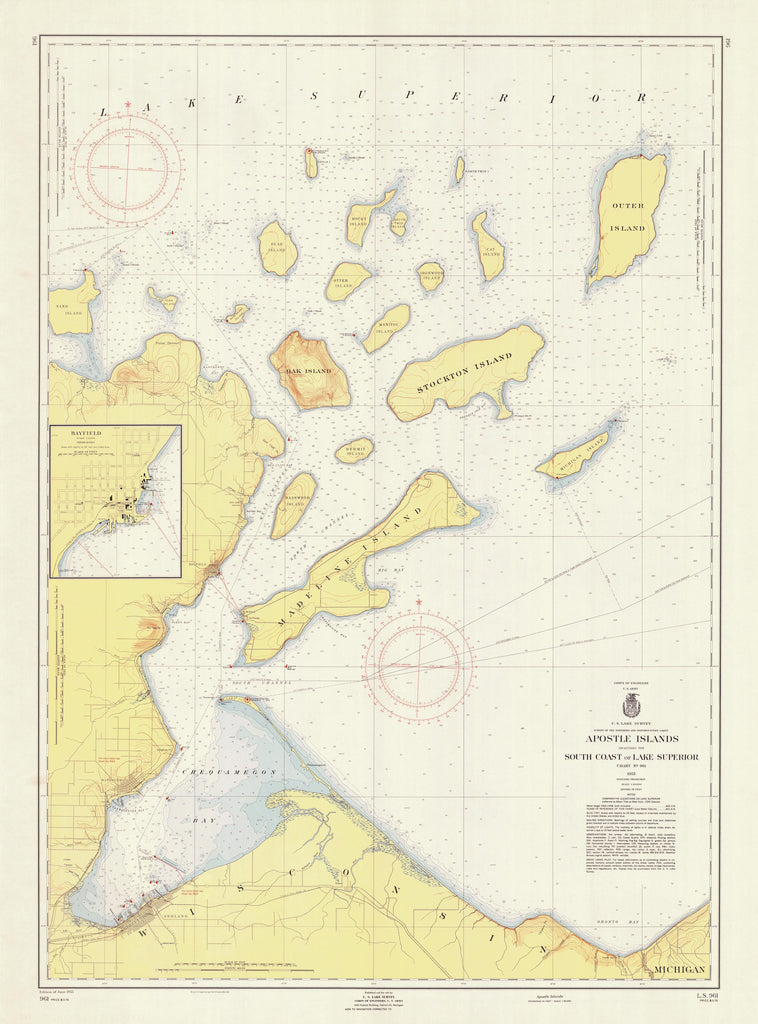 Apostle Islands - Lake Superior Historical Map - 1955
