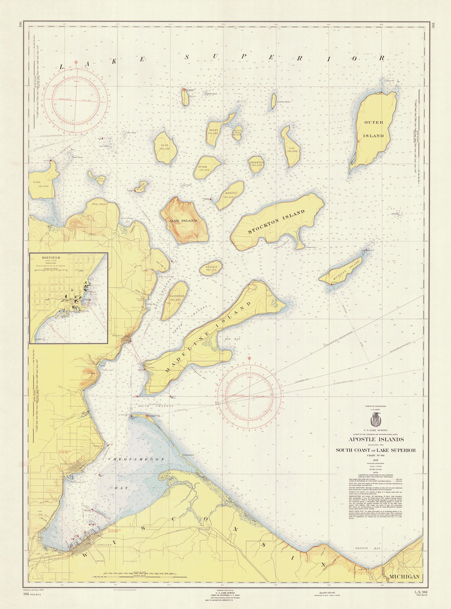 Apostle Islands - Lake Superior Map - 1955