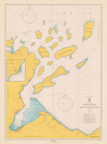 Apostle Islands - Lake Superior Historical Map - 1948