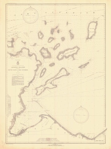 Apostle Islands - Lake Superior Map - 1935