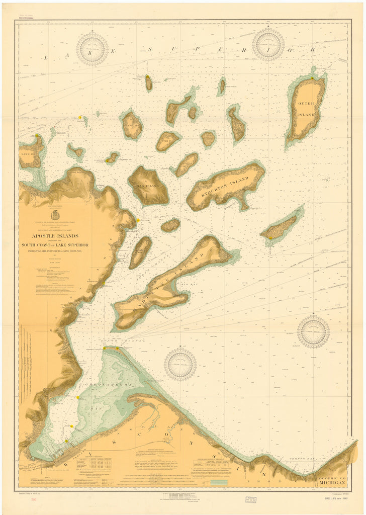 Apostle Islands - Lake Superior Historical Map - 1925