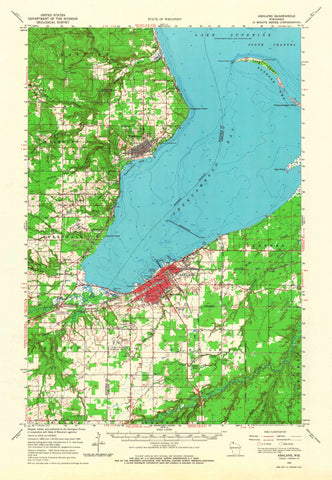 Ashland Wisconsin Topographic Map - 1964