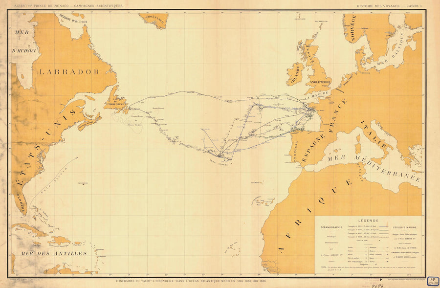 Atlantic Voyages Map 1885