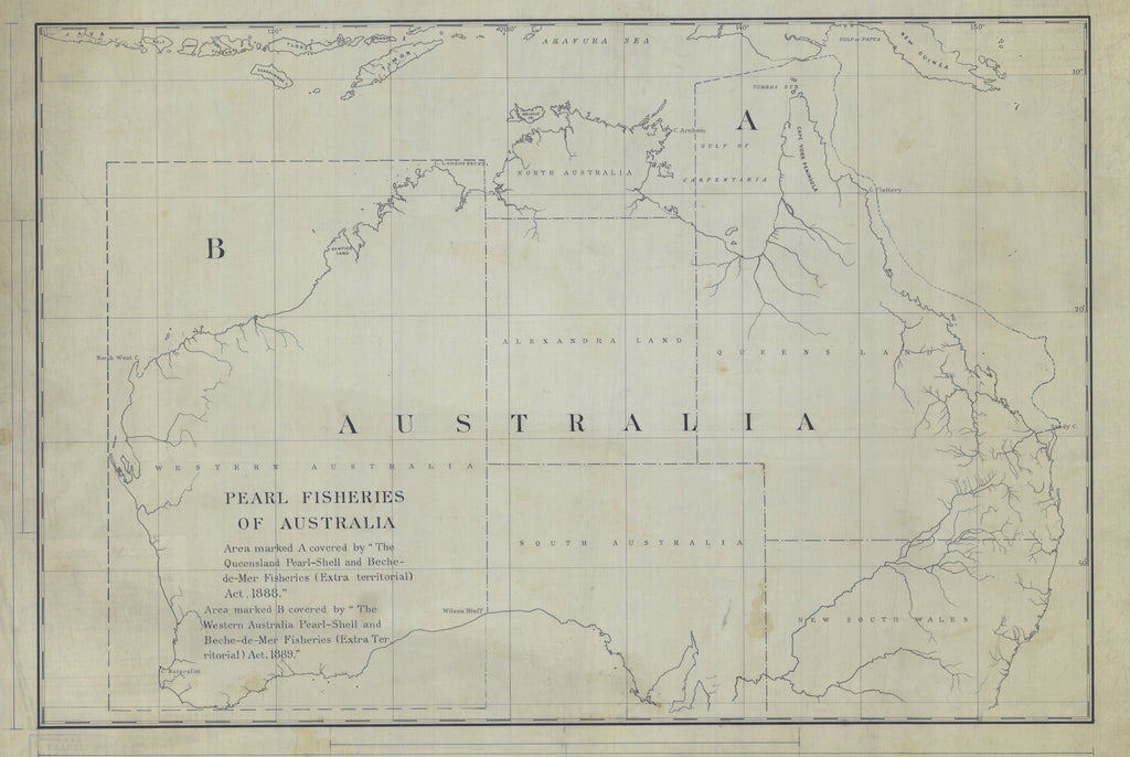 Australia Pearl Fisheries Map 1889