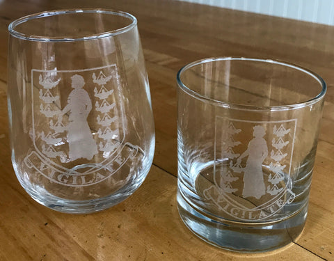 BVI Crest - Engraved Rocks & Stemless Wine Glasses